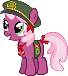 Size: 10568x11901 | Tagged: safe, artist:cyanlightning, cheerilee, .svg available, absurd resolution, cap, cheeribetes, cute, cyan's filly guides, filly, filly guides, foal, hat, ribbon, simple background, solo, transparent background, vector, younger