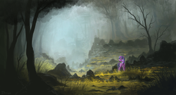 Size: 2100x1135 | Tagged: dead source, safe, artist:shamanguli, twilight sparkle, alicorn, pony, female, fog, forest, mist, rock, scenery, solo, tree, twilight sparkle (alicorn)