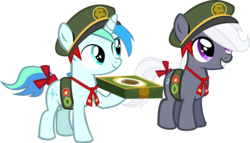 Size: 14988x8562 | Tagged: safe, artist:cyanlightning, oc, oc only, oc:aureai gray, oc:cyan lightning, .svg available, absurd resolution, cap, colt, cute, cyan's filly guides, female, filly, filly guides, hat, i forgot the damn wings again, male, ocbetes, ribbon, simple background, transparent background, vector