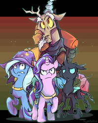 Size: 3000x3766 | Tagged: safe, artist:tyuubatu, discord, starlight glimmer, thorax, trixie, pony, unicorn, to where and back again, backpack, frown, raised hoof, reformed four, worried