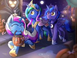 Size: 2000x1500 | Tagged: safe, artist:vavacung, princess cadance, princess celestia, princess luna, oc, oc only, oc:cobalt, oc:nightwatch, oc:serenity, adopted offspring, candy, clothes, costume, cute, food, halloween, horseshoes, humming, jack-o-lantern, music notes, night, nightmare night, pumpkin, pumpkin bucket, trio