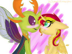 Size: 3200x2400 | Tagged: alicorn, alicornified, artist:xxsunsetshimmer23xx, blushing, changedling, changeling, crack shipping, king thorax, male, pony, race swap, safe, shimmercorn, shipping, straight, sunset shimmer, thorashimmer, thorax, to where and back again, why, why not