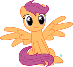 Size: 2000x1838 | Tagged: :3, artist:arifproject, catface, cute, cutealoo, older, older scootaloo, pony, safe, scootaloo, simple background, sitting, sitting catface meme, solo, transparent background, vector