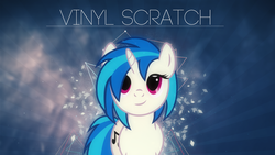 Size: 1920x1080 | Tagged: safe, artist:codershy, artist:shelmo69, dj pon-3, vinyl scratch, pony, unicorn, female, looking at you, mare, particles, solo, vector, wallpaper