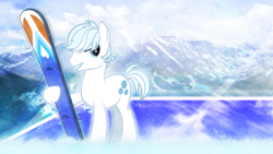 Size: 3840x2160 | Tagged: safe, artist:falexd, artist:game-beatx14, double diamond, male, rocky mountains, skis, solo, wallpaper