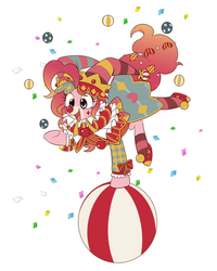Size: 1024x1280   Tagged: safe, artist:umeguru, pinkie pie, ponyacci, earth pony, pony, balancing, ball, bouncy ball, clothes, clown, clown makeup, clown nose, costume, female, jester, jester pie, juggling, mare, open mouth, pixiv, raised hoof, ruff (clothing), solo, underhoof