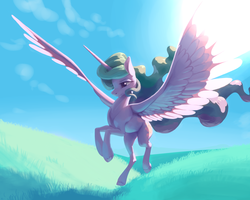 Size: 5000x4000 | Tagged: absurd res, alicorn, artist:nadnerbd, backlighting, female, grass, landing, lidded eyes, majestic, mare, missing accessory, painterly, painting, pony, princess celestia, safe, sky, solo, spread wings, subsurface scattering, sun, sunlight, wings