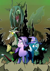 Size: 1600x2263 | Tagged: safe, artist:alvh-omega, discord, queen chrysalis, starlight glimmer, thorax, trixie, pony, unicorn, to where and back again, changeling kingdom, poster, reformed four