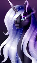 Size: 1024x1702   Tagged: safe, artist:minelvi, princess luna, alicorn, pony, alternate design, bedroom eyes, bust, ethereal mane, eyelashes, female, galaxy mane, gradient background, makeup, mare, solo, sombra eyes, tattoo