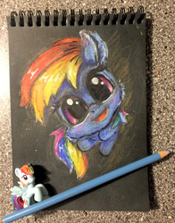 Size: 627x800   Tagged: safe, artist:xbi, rainbow dash, pony, tabun art-battle, chibi, cute, dashabetes, female, figurine, looking at you, pencil, pencil drawing, photo, solo, tabun art-battle cover, traditional art