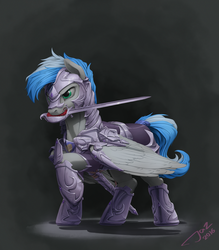 Size: 2500x2859 | Tagged: safe, artist:1jaz, oc, oc only, oc:cloud zapper, pegasus, pony, armor, fight, mouth hold, night guard, solo, sword, tail wrap, weapon