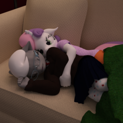 Size: 1500x1500 | Tagged: safe, artist:tahublade7, silver spoon, sweetie belle, earth pony, unicorn, anthro, plantigrade anthro, 3d, couch, daz studio, eyes closed, female, filly, floppy ears, glasses, lesbian, shipping, silverbelle, sleeping, snuggling, tights
