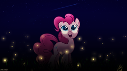 Size: 1920x1080 | Tagged: safe, artist:1apeepa, artist:drakesparkle44, pinkie pie, earth pony, pony, female, grass, looking up, mare, night, shooting star, signature, solo, stars, vector, wallpaper