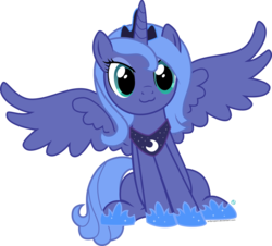Size: 2000x1807 | Tagged: :3, artist:arifproject, catface, cute, filly, pony, princess luna, s1 luna, safe, simple background, sitting, sitting catface meme, solo, spread wings, transparent background, vector, woona, younger