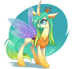 Size: 3769x3593 | Tagged: safe, artist:jadedjynx, queen chrysalis, changedling, changeling, changeling queen, to where and back again, abstract background, chest fluff, discussion in the comments, female, fluffy, frown, good, purified chrysalis, reformed, signature, solo, spread wings, what if, wide eyes