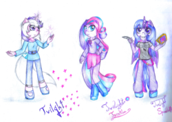Size: 1023x723 | Tagged: safe, artist:lillyflover, twilight, twilight sparkle, twilight twinkle, alicorn, anthro, unguligrade anthro, g1, g3, square crossover, traditional art, twilight sparkle (alicorn)