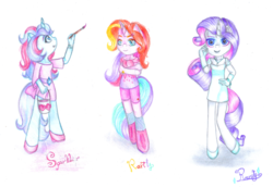 Size: 1024x705 | Tagged: safe, artist:lillyflover, rarity, rarity (g3), sparkler (g1), anthro, g1, g3, generational ponidox, square crossover, traditional art