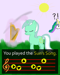 Size: 1200x1500 | Tagged: safe, artist:hip-indeed, lyra heartstrings, princess celestia, crossover, exclamation point, eyes closed, frown, interrobang, levitation, magic, parody, question mark, smiling, sun, sun's song, telekinesis, the legend of zelda