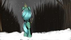Size: 1920x1080 | Tagged: safe, artist:chickenbrony, lyra heartstrings, pony, unicorn, fanfic:background pony, clothes, evening, everfree forest, levitation, magic, plot, snow, solo, telekinesis, winter