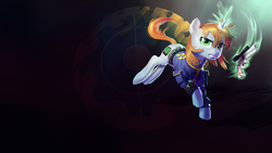 Size: 1920x1080 | Tagged: safe, artist:makkon, oc, oc only, oc:littlepip, pony, unicorn, fallout equestria, abstract background, clothes, cutie mark, fanfic, fanfic art, female, glowing horn, gritted teeth, gun, handgun, hooves, horn, jumping, levitation, little macintosh, magic, mare, optical sight, pipbuck, revolver, scope, solo, telekinesis, vault suit, wallpaper, weapon