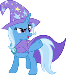Size: 3001x3385 | Tagged: safe, artist:cloudyglow, trixie, pony, unicorn, no second prances, .ai available, clothes, female, mare, open mouth, pointing, simple background, solo, transparent background, trixie's cape, trixie's hat, vector
