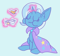Size: 1280x1206 | Tagged: safe, artist:typhwosion, trixie, pony, unicorn, chubby cheeks, crackers, eating, eyes closed, female, food, magic, mare, peanut butter, peanut butter crackers, sitting, solo, telekinesis, that pony sure does love peanut butter crackers, trixie's cape