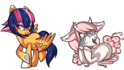 Size: 800x450 | Tagged: safe, artist:peachesandcreamated, oc, oc only, oc:diddy do, bat pony, pegasus, pony, bow, colored hooves, female, hair bow, heart eyes, horns, mare, pixel art, raised hoof, simple background, tail bow, transparent background, underhoof, unshorn fetlocks, wingding eyes