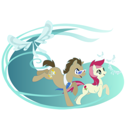 Size: 750x750 | Tagged: safe, artist:aileenrt, doctor whooves, roseluck, time turner, pony, it ain't easy being breezies, 3d glasses, doctorrose, female, male, scene interpretation, shipping, stallion, straight