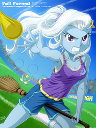 Size: 900x1200 | Tagged: safe, artist:uotapo, snails, trixie, equestria girls, armpits, blue skin, blue sky, breasts, broom, calm, cleavage, clothes, comedy, crossover, determined, eyes closed, fall formal, fall formal princess competition, female, funny, happy, harry potter, meditating, muggle quidditch, nimbus 2000, ponytail, purple eyes, quidditch, serious, serious face, shorts, sitting, smiling, socks, sports bra, tanktop, uniform