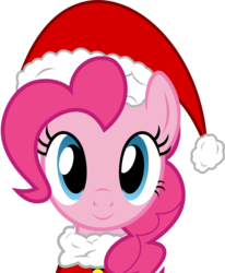Size: 6979x8464 | Tagged: safe, artist:pink1ejack, part of a set, pinkie pie, absurd resolution, female, hat, looking at you, santa hat, simple background, smiling, solo, transparent background