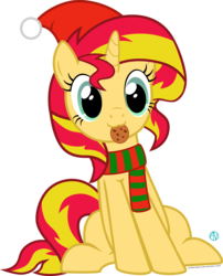 Size: 1803x2231 | Tagged: :3, artist:arifproject, christmas, clothes, cookie, cute, derpibooru exclusive, edit, food, hat, meme, pony, safe, santa hat, scarf, shimmerbetes, simple background, sitting, sitting catface meme, solo, sunset shimmer, transparent background, vector, vector edit