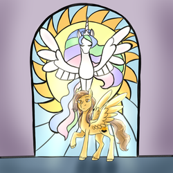 Size: 1280x1280 | Tagged: safe, artist:jitterbugjive, princess celestia, oc, oc:golden dawn, pegasus, pony, commission, looking at you, male, praise the sun, raised hoof, royal guard, serious, serious face, solo, spread wings, stained glass, stallion, sun