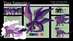 Size: 1900x1080 | Tagged: safe, artist:halfway-to-insanity, princess celestia, twilight sparkle, oc, oc:tina tatinviir, dracony, hybrid, longma, action pose, belly plates, claws, dragon wings, expressions, fluffy tail, horns, multiple wings, ponytail, pose, reference sheet, silhouette, size chart, size comparison, solo, tattoo, unshorn fetlocks