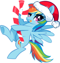 Size: 574x603 | Tagged: safe, artist:suzuii, rainbow dash, blushing, candy, candy cane, cute, dashabetes, food, hat, santa hat, solo, tongue out