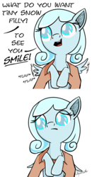 Size: 1564x3001 | Tagged: safe, artist:chopsticks, oc, oc only, oc:snowdrop, pegasus, pony, blind, cute, dialogue, feels, female, filly, flapping, frown, holding a pony, looking down, mood whiplash, offscreen character, open mouth, reality ensues, sad, sadorable, simple background, smiling, solo, spread wings, tiny ponies, we are going to hell, what do you want, white background