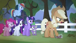 Size: 1280x720   Tagged: safe, screencap, applejack, pinkie pie, rainbow dash, rarity, spike, twilight sparkle, alicorn, pony, bats!, season 4, stop the bats, twilight sparkle (alicorn)