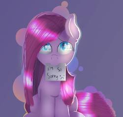 Size: 1003x955 | Tagged: safe, artist:victoriathething, pinkie pie, :c, eye reflection, female, looking at you, looking up, mouth hold, note, pinkamena diane pie, sitting, solo, sorry