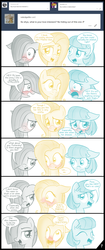 Size: 807x1920 | Tagged: artist:thealjavis, ask the shy-tri, blushing, coco pommel, colored pupils, comic, dialogue, female, fluttershy, implied big macintosh, implied flutterpie, implied marblemac, implied marshmallow coco, implied pinkie pie, implied rarity, implied shipping, lesbian, looking at you, male, marble pie, open mouth, pony, safe, simple background, speech bubble, straight, the council of shy ponies, trio, tumblr, white background
