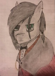 Size: 501x691 | Tagged: safe, artist:lxden, oc, oc only, oc:hell fire, bowtie, brother, cloak, clothes, ear piercing, earring, gentlepony, graph paper, green eyes, jewelry, piercing, russia, solo, traditional art