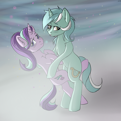 Size: 1000x1000   Tagged: safe, artist:chickenbrony, lyra heartstrings, starlight glimmer, pony, unicorn, bipedal, blushing, chest fluff, colored, crack shipping, cute, female, glimmerbetes, hug, lesbian, looking at you, lyrabetes, mare, shipping, simple background, smiling, standing, starlyra
