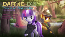 Size: 1920x1080 | Tagged: safe, artist:vanillaghosties, edit, daring do, twilight velvet, pegasus, pony, unicorn, series:daring did tales of an adventurer's companion, ak-47, assault rifle, bipedal, clothes, duo, fanfic, fanfic art, female, forest, glowing horn, grass, grin, gun, hat, hood, hoodie, magic, map, mare, outdoors, rifle, smiling, standing, text edit, tree, weapon