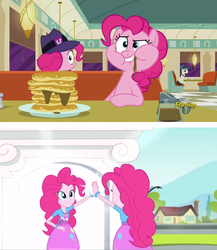 Size: 1592x1836 | Tagged: safe, screencap, lucky breaks, pinkie pie, the clone that got away, equestria girls, friendship games, the saddle row review, blooper, bracelet, canterlot high, clone, clothes, coffee pot, diner, discovery family logo, food, friendship games bloopers, hat, human paradox, jewelry, outtakes, pancakes, paradox, pinkie being pinkie, pinkie clone, restaurant, self ponidox, skirt, subversion, this explains everything
