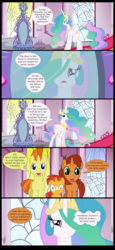 Size: 2000x4343 | Tagged: safe, artist:mlp-silver-quill, princess celestia, stellar flare, sunburst, sunspot (character), pony, absurd resolution, bad parenting, celestia is not amused, colt, colt sunburst, comic, headcanon, implied equestria girls, implied sunset shimmer, male, mirror, sunny siblings, unamused, younger