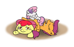 Size: 950x600 | Tagged: safe, artist:yakoshi, apple bloom, scootaloo, sweetie belle, adorabloom, cute, cutealoo, cutie mark crusaders, diasweetes, drool, floppy ears, pony pile, pony pillow, sleeping, tired