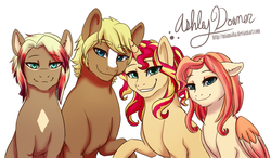 Size: 900x526   Tagged: safe, artist:miamaha, quarter hearts, sunset shimmer, oc, oc:dusk fall, oc:eventide twister, earth pony, pegasus, pony, unicorn, :3, crack shipping, female, floppy ears, grin, lidded eyes, link, looking at you, male, mare, offspring, parent:quarter hearts, parent:sunset shimmer, parents:sunsethearts, raised hoof, rupee, shipping, simple background, sitting, smiling, stallion, straight, sunsethearts, the legend of zelda, white background