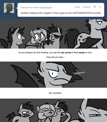 Size: 666x761 | Tagged: safe, artist:egophiliac, princess luna, oc, oc:frolicsome meadowlark, oc:sparkleheart, oc:sunshine smiles (egophiliac), bat pony, pony, moonstuck, ask, cartographer's cloak, comic, eyepatch, filly, grayscale, monochrome, silly face, tongue out, tumblr, woona, woonoggles, younger