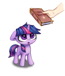 Size: 1007x1178 | Tagged: safe, artist:inowiseei, part of a set, twilight sparkle, pony, unicorn, adorkable, book, bookhorse, cute, dork, female, filly, filly twilight sparkle, hand, looking up, misspelling, open mouth, simple background, solo focus, starry eyes, that pony sure does love books, twiabetes, white background, wingding eyes