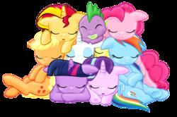 Size: 1267x842 | Tagged: safe, artist:majkashinoda626, applejack, fluttershy, pinkie pie, rainbow dash, rarity, spike, starlight glimmer, sunset shimmer, twilight sparkle, alicorn, dragon, earth pony, pegasus, pony, unicorn, baby, baby dragon, cuddle puddle, cuddling, cute, cutie mark, daaaaaaaaaaaw, dashabetes, diabetes, diapinkes, eyes closed, female, floppy ears, glimmerbetes, jackabetes, male, mane nine, mane seven, mane six, mare, open mouth, pony pile, pony pillow, raribetes, shimmerbetes, shyabetes, simple background, sleep pile, sleeping, spikabetes, spike gets all the mares, spike you lucky bastard, transparent background, twiabetes, twilight sparkle (alicorn)