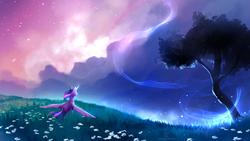 Size: 1600x900 | Tagged: safe, artist:nekiw, twilight sparkle, alicorn, pony, beautiful, female, flower, meadow, scenery, scenery porn, shooting stars, solo, spread wings, stars, tree, twilight (astronomy), twilight sparkle (alicorn)