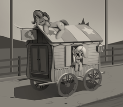 Size: 800x700 | Tagged: safe, artist:rodrigues404, starlight glimmer, trixie, pony, unicorn, cute, diatrixes, duo, duo female, eyes closed, female, floppy ears, glimmerbetes, grayscale, leaning, mare, monochrome, prone, resting, sleeping, smiling, trixie's wagon